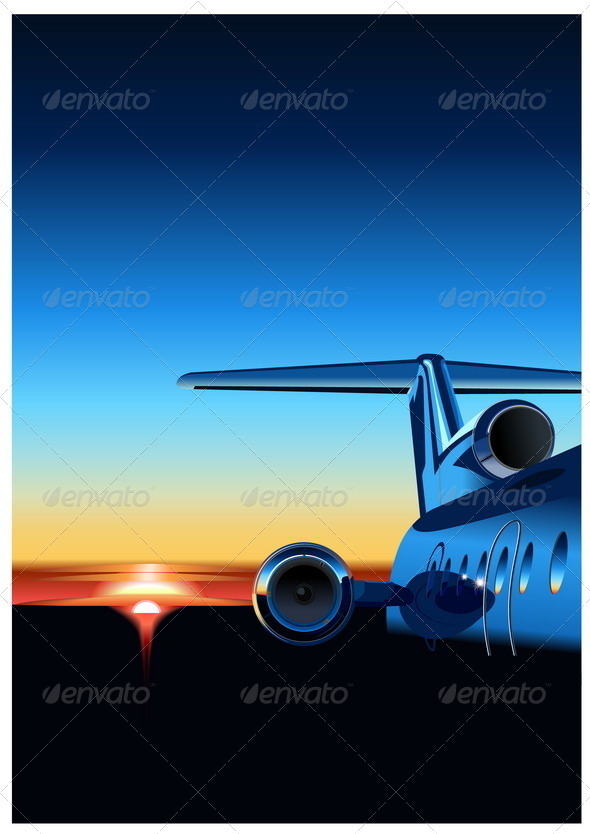 Airplane at Sunset - Travel Conceptual