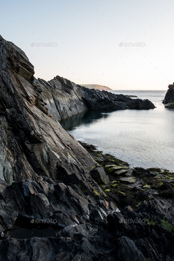 Cliff on the Pembrokeshire Coast, Wales, UK. - Stock Photo - Images