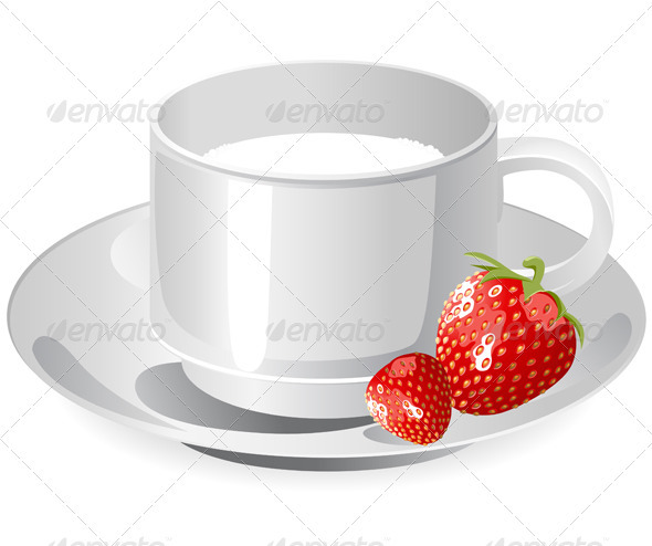 Cup of Milk and Strawberry - Food Objects