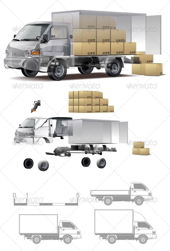 Delivery Cargo Truck Cutaway - Man-made Objects Objects