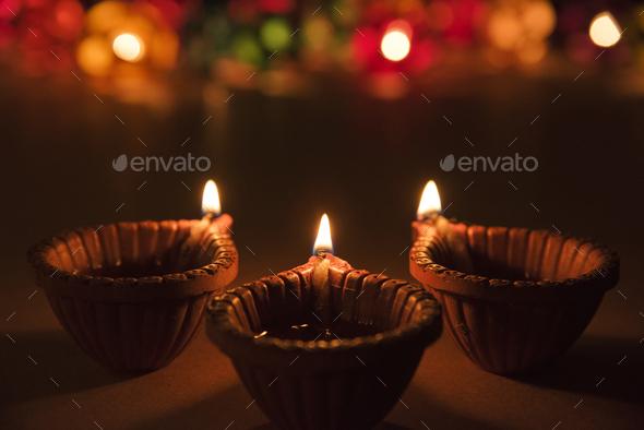 Beautiful Diwali Diya - Stock Photo - Images