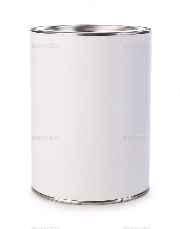 Empty iron can isolated on white background. - Stock Photo - Images