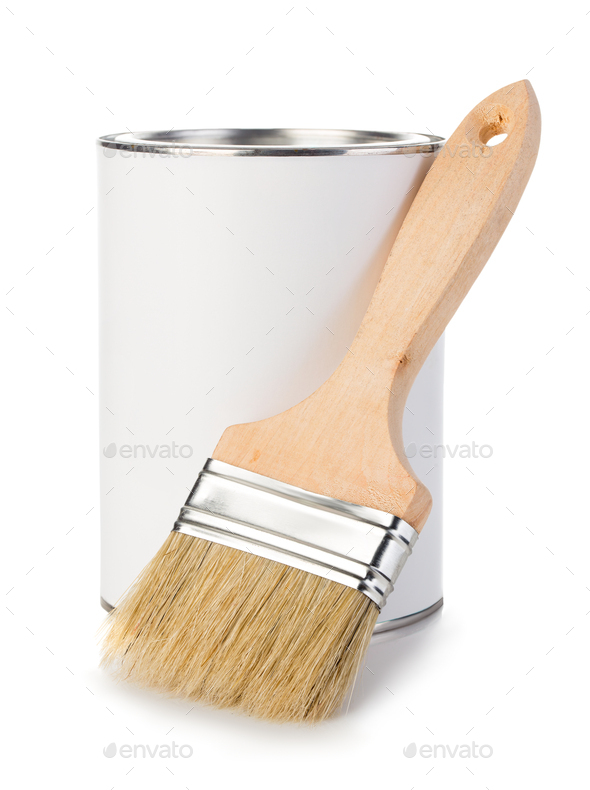 Iron can with paint and brush isolated on a white background. - Stock Photo - Images