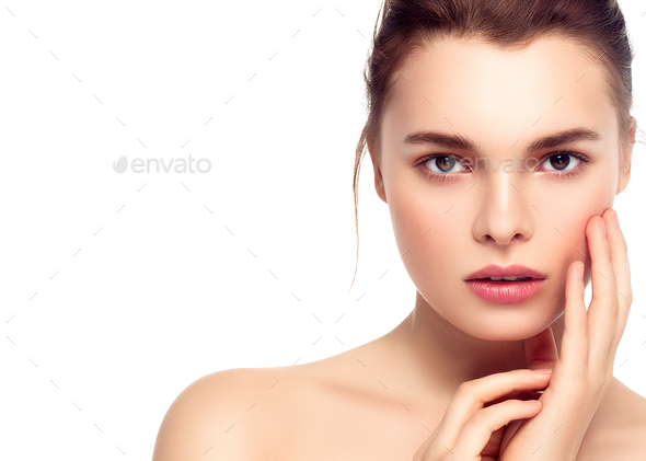 Colorful make-up woman face, beautiful brunette summer makeup with pink lips - Stock Photo - Images