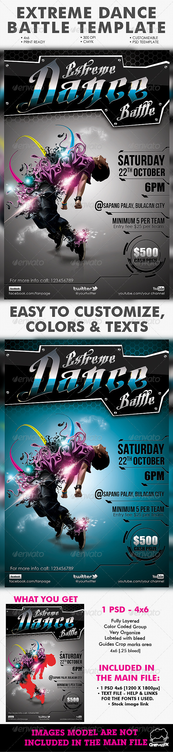 Extreme Dance Battle Template - Events Flyers