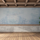 Empty retro room with old walls and wooden ceiling - PhotoDune Item for Sale
