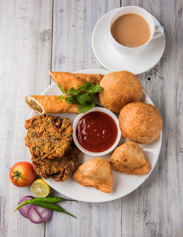 Indian Tea Time Snacks - Stock Photo - Images