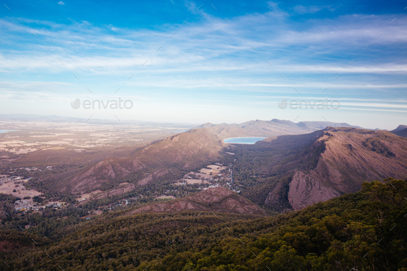 Grampians Landscape from Boroka Lookout in Victoria Australia - Stock Photo - Images