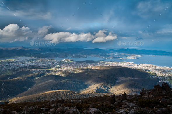 Hobart View from Mt Wellington - Stock Photo - Images