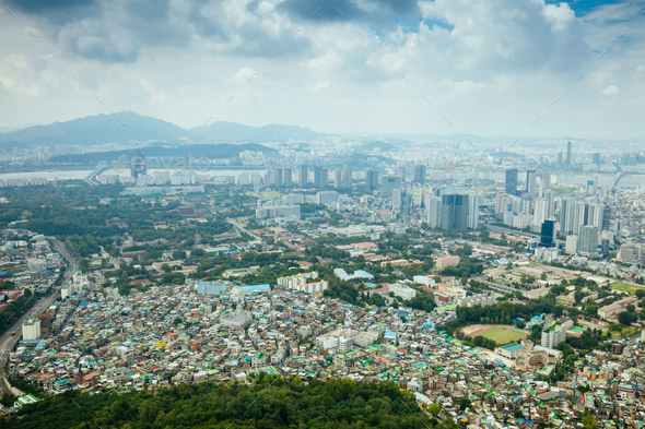 View over Seoul in South Korea - Stock Photo - Images