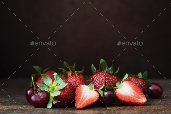 Strawberries and Cherries Still Life - Stock Photo - Images
