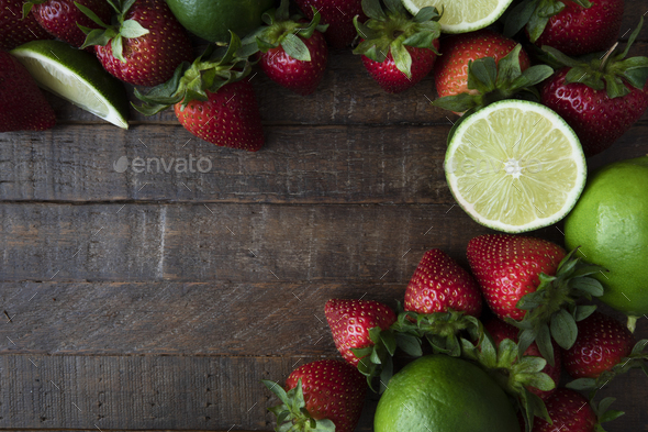 Flat Lay with Fresh Fruit - Stock Photo - Images