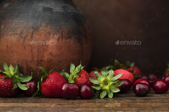 Rustic Fresh Fruit Still Life - Stock Photo - Images