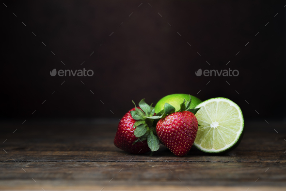Strawberry and Lime Still Life - Stock Photo - Images