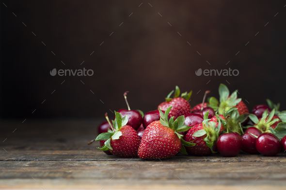 Fresh Strawberrys and Cherries - Stock Photo - Images