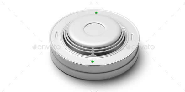 Smoke detector isolated against white background. Fire safety system. 3d illustration - Stock Photo - Images