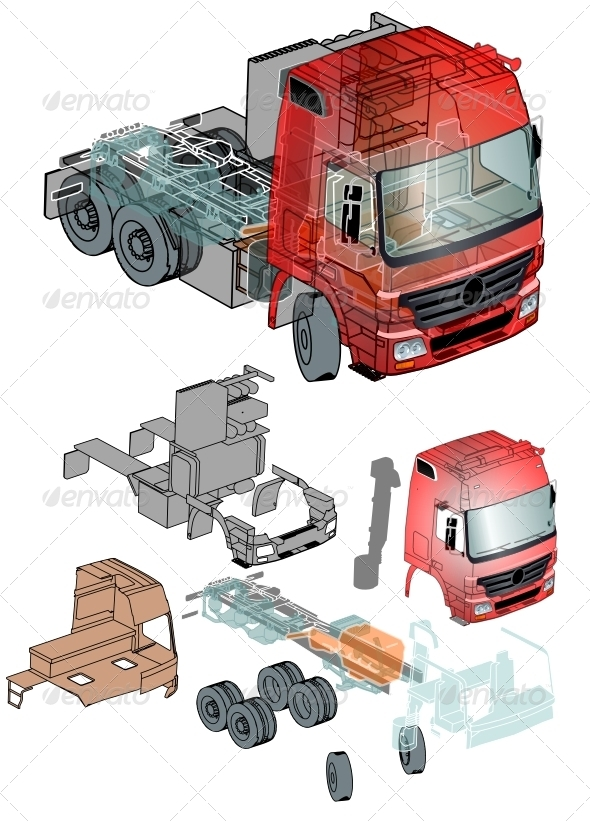 Semi-truck Infographics Cutaway - Man-made Objects Objects