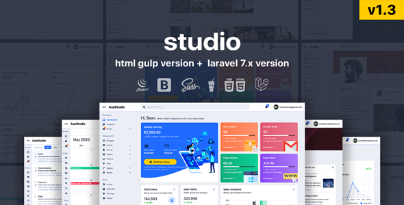Studio - HTML & Laravel Bootstrap 4 Admin Template