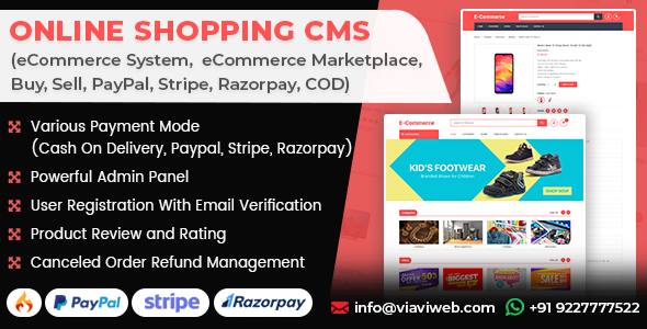 Online Shopping CMS (eCommerce System, eCommerce Marketplace, Buy, Sell, PayPal, Stripe, COD)
