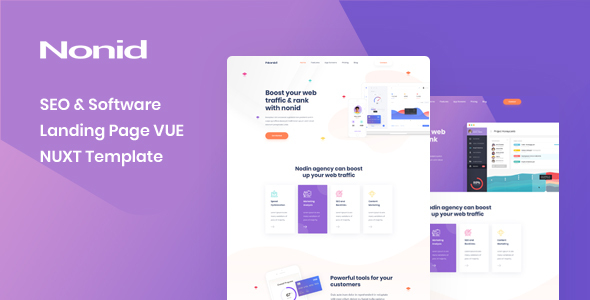 Fabulous Nonid - Vue Nuxt SEO and Software Landing Page Template