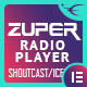 Zuper - Shoutcast and Icecast Radio Player With History - Elementor Widget Addon