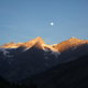 beautiful scenic landscape with snow capped mountains and moon in indian himalayas - PhotoDune Item for Sale