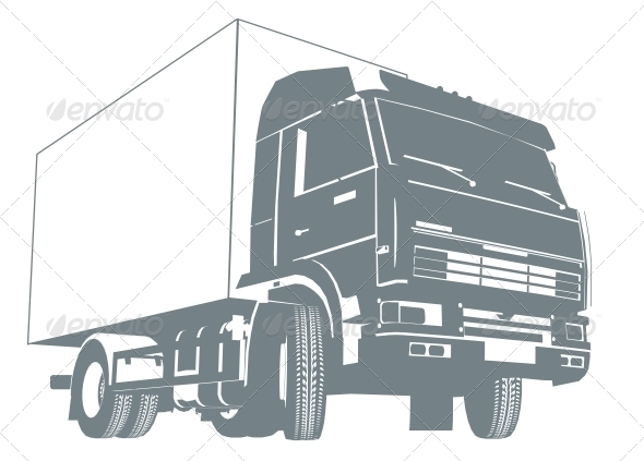 Cargo Truck Silhouette - Man-made Objects Objects