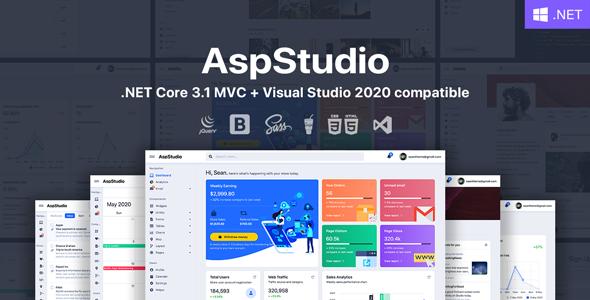 AspStudio – ASP.NET Core 3.1 MVC Bootstrap 4 Admin Template
