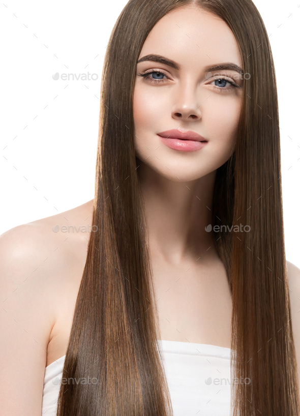 Passion brunette teen beauty girl face portrait. Beautiful spa model woman perfect healthy - Stock Photo - Images