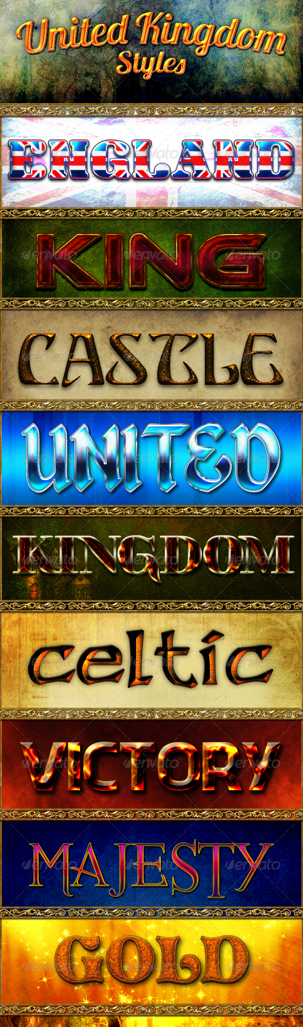 United Kingdom Styles - Text Effects Styles