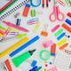 School supplies on white desk. Kids creativity flat lay - PhotoDune Item for Sale
