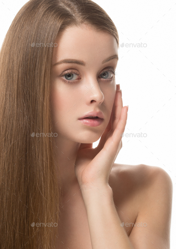 Adorable beauty girl face portrait. Beautiful spa model woman perfect healthy hair smooth. - Stock Photo - Images