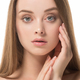 Nice beauty girl face portrait. Beautiful spa model woman perfect healthy hair smooth. - PhotoDune Item for Sale
