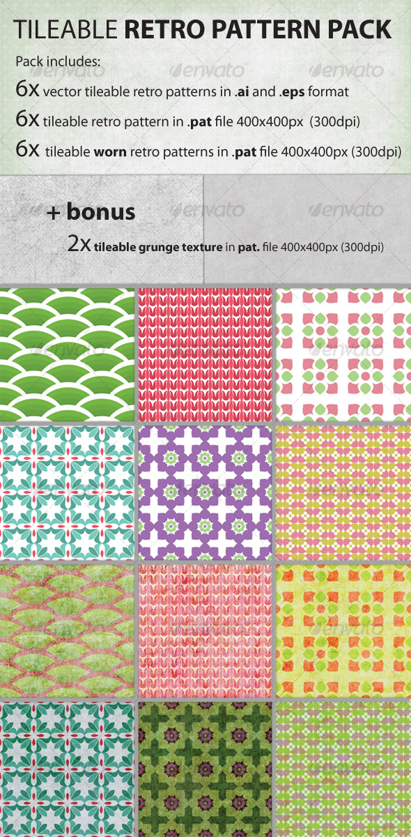 Vector tileable retro pattern pack - Patterns Decorative