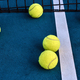 Tennis balls under net at court - PhotoDune Item for Sale
