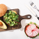 top view of vegan burgers with microgreens - PhotoDune Item for Sale