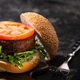 tasty vegan burger with tomato and greens - PhotoDune Item for Sale