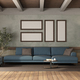 Modern blue sofa and footstool in old room - PhotoDune Item for Sale