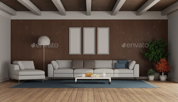 Modern Sofa And Chaise Lounge, Living Room Wood Paneling