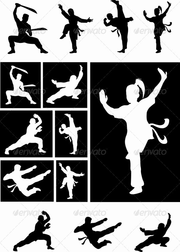Kung Fu silhouette vectors - Sports/Activity Conceptual