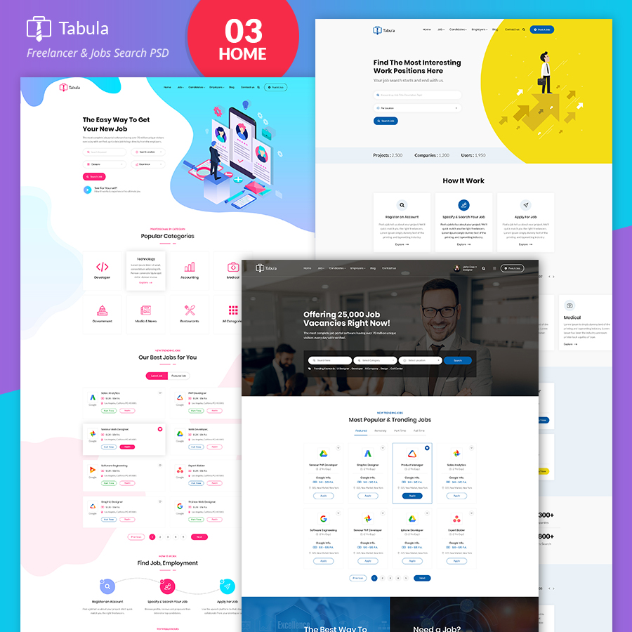 Tabula - Freelancer PSD Template - 1