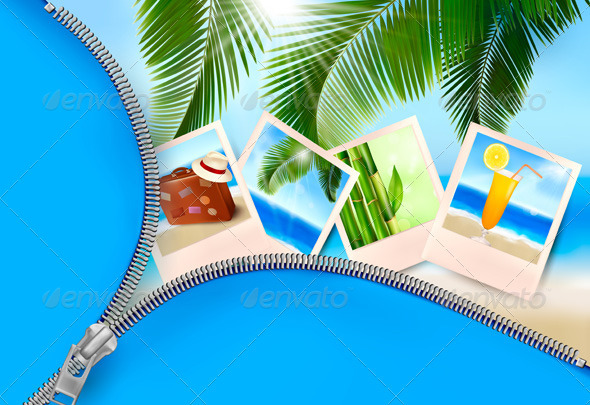 Background with photos from holidays on a seaside. - Travel Conceptual