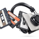 Portable player with headphones and tapes isolated on white - PhotoDune Item for Sale