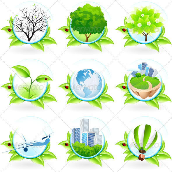 Green Symbol Set - Flowers & Plants Nature