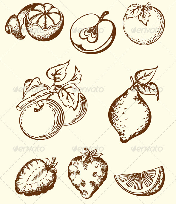 Vintage Fruit Icons - Food Objects