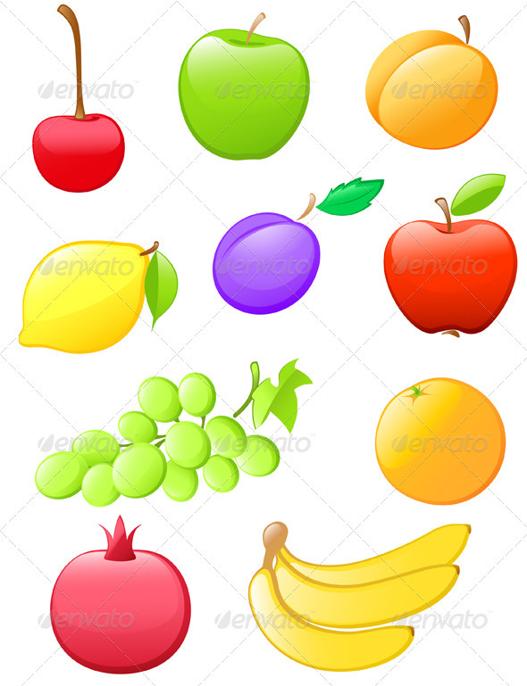 Glossy Fruit Icons - Food Objects