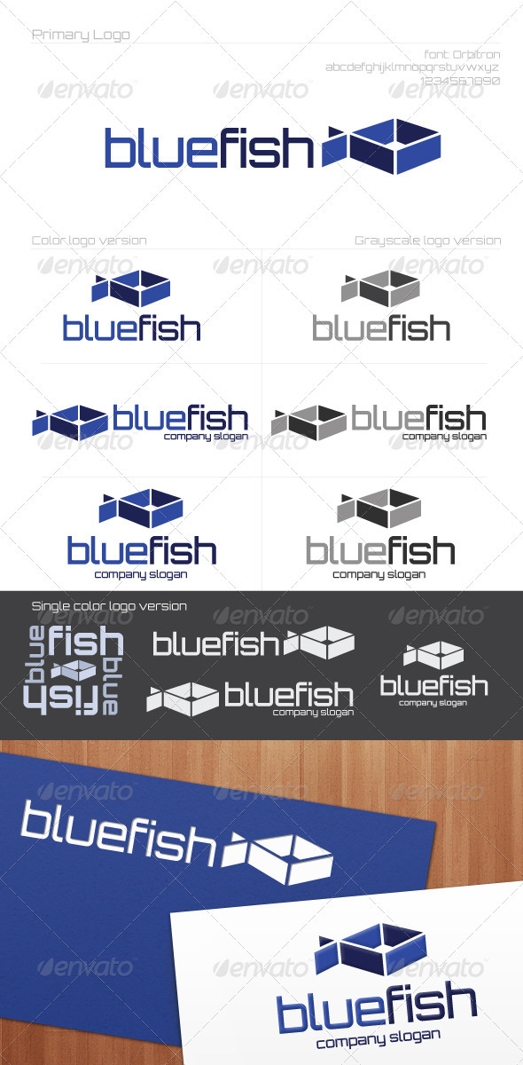 Blue Pisces - Animals Logo Templates
