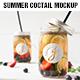 Mason jar Ice tea summer coctail mockup