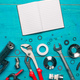 Plumbing tools and blank notebook mock up - PhotoDune Item for Sale