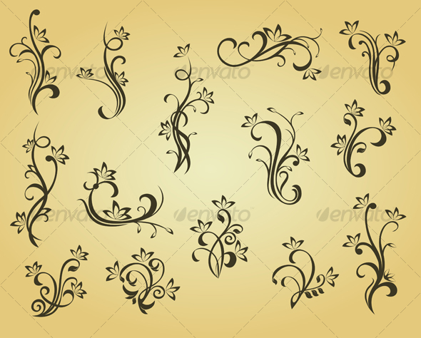 Set of vintage decorations - Flourishes / Swirls Decorative